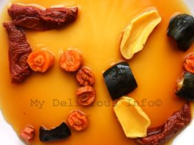 Dehydrated vegetables, soaked