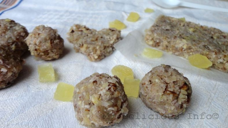 Energy pineapple nuts bonbons