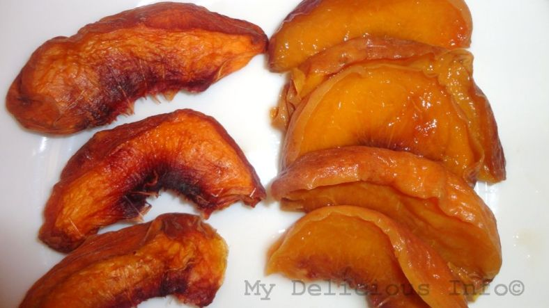 Dried peaches before and after soaking in water