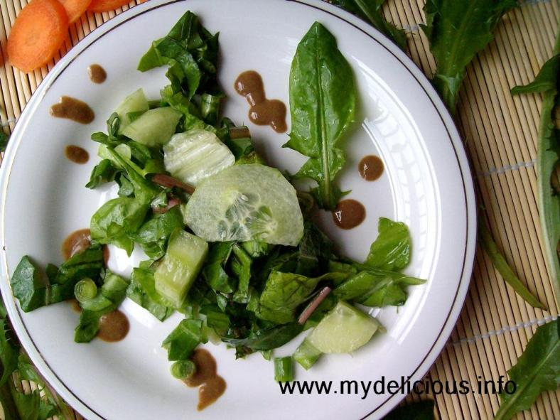 Dandelion green leaves salad