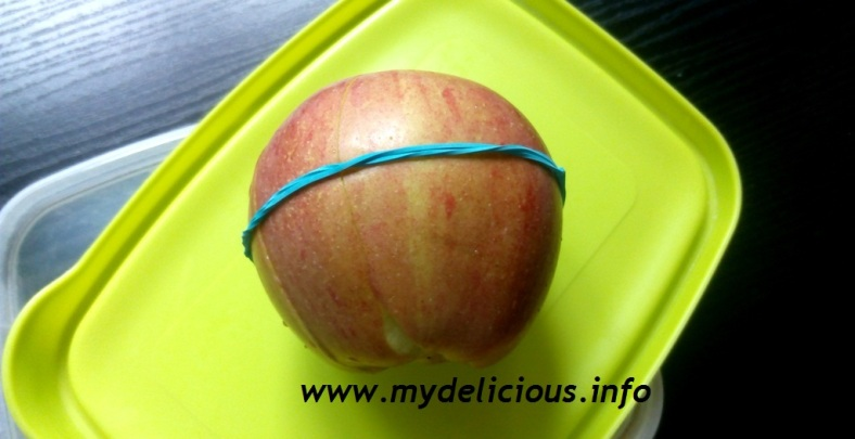 Apple and rubber band