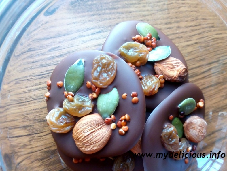 Energy chocolate nuts and seeds bites